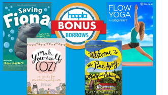 hoopla logo, photos of fiona movie, yoga movie, two book covers